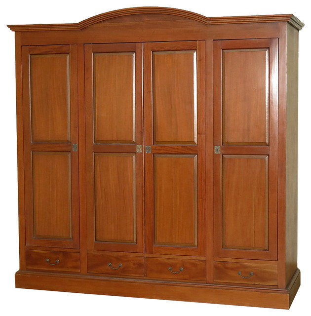 Large Mahogany 4 Pocket Doors Media Entertainment Armoire Wardrobe - Traditional - Armoires And ...