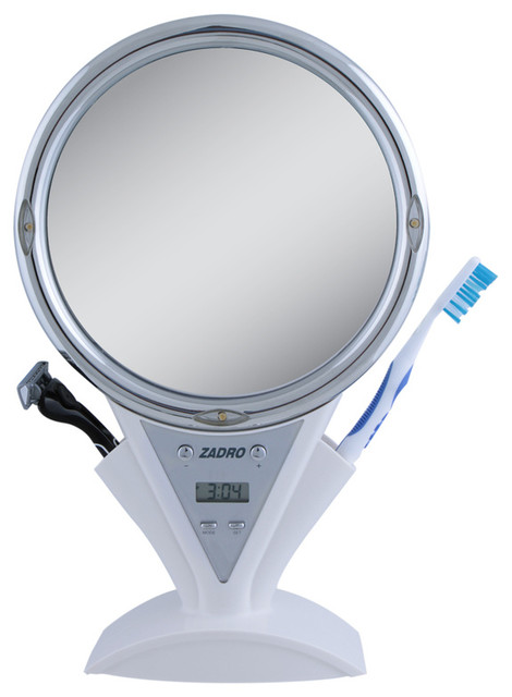 Zadro 5x 1x Led Lighted Power Zoom Fogless Mirror In White