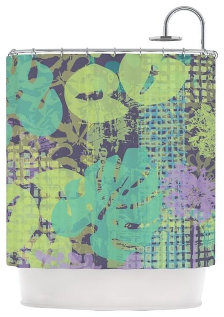 Chickaprint Verdure Collage Green Teal Shower Curtain Contempor