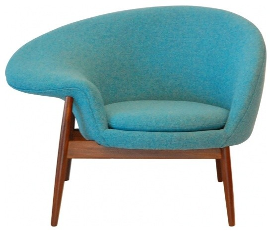 Hans Olsen Style Egg Chair Blue Midcentury Armchairs