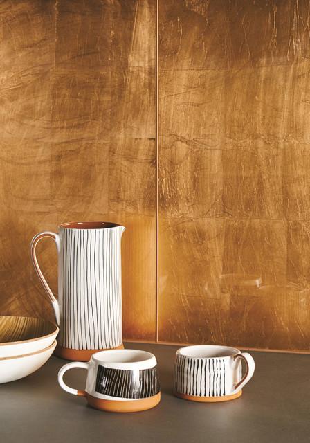 Copper Leaf Decorative Glass