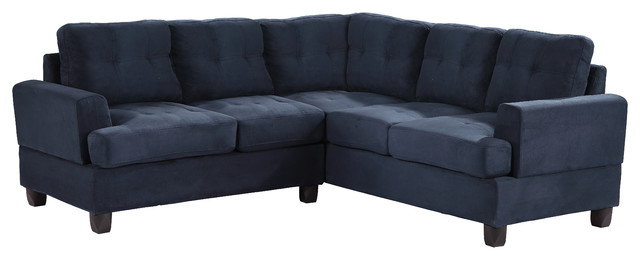 Tufted sectional sofa navy blue suede traditional for Navy blue tufted sectional sofa