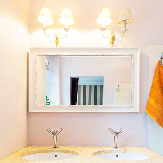 Custom size white framed mirror contemporary bathroom for Custom made mirrors for bathrooms
