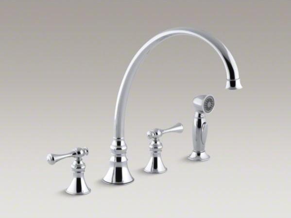 Kohler revival r 4 hole kitchen sink faucet with 11 13 16 spout matching fini contemporary for Kohler revival bathroom faucet