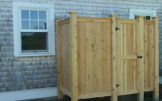 Image gallery outdoor shower kits for Outdoor shower doors