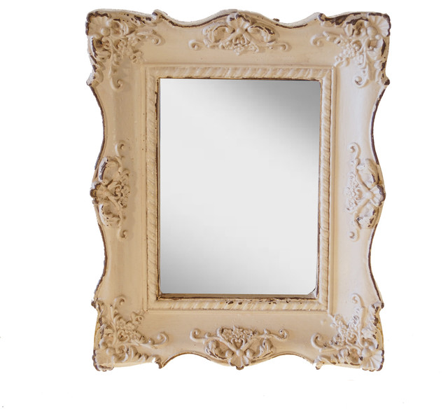 Resin Framed Decorative Mirror, White rustic-wall-mirrors