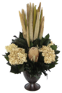 Small Metal Trophy Vase, Brown Pensularia, Banksia, Ivory Hydrangea ...