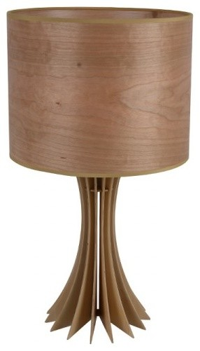 modern wood veneer table lamps brown fabric shade modern table lamps raleigh by parrotuncle. Black Bedroom Furniture Sets. Home Design Ideas