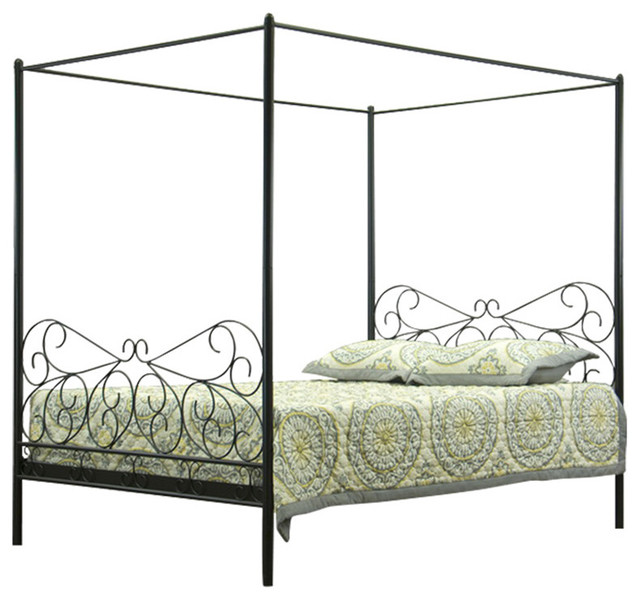 Baxton Studio Antiquity Metal Contemporary Queen Size Canopy Bed Contempora