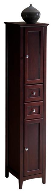 fresca oxford mahogany tall bathroom linen cabinet