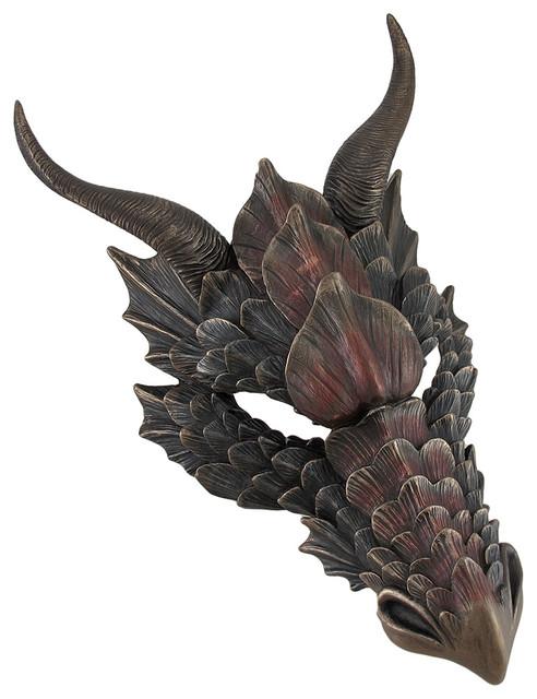 Metal wall art for bathrooms - Metallic Bronze Finish Dragon Head Wall Mask Medieval