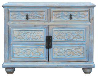 Rustic Floral Light Blue Credenza