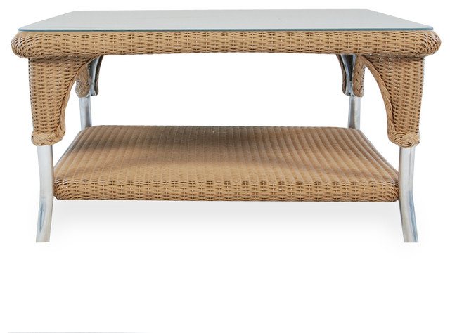 Cocktail Table With Lay On Glass In Traditional Weave And Antique Khaki Finish Tropical