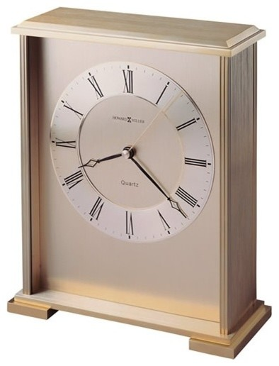 Exton Table top Clock Brushed & Polished Brass