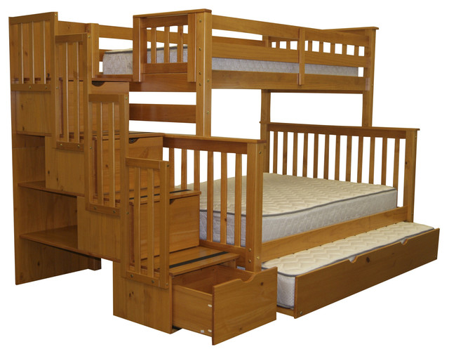 Bunk Beds Twin over Full Stairway Honey + Trundle