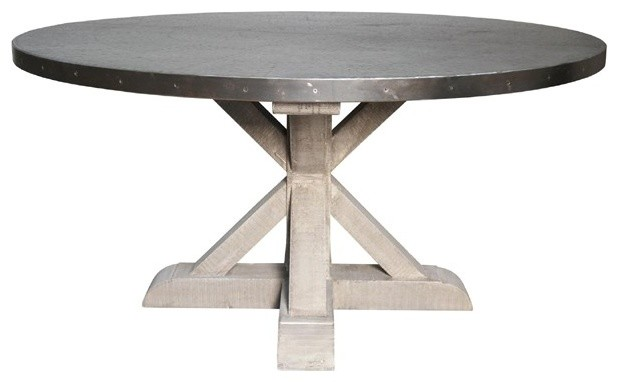 Noir furniture zinc top round table with wooden x base for Kitchen set zink