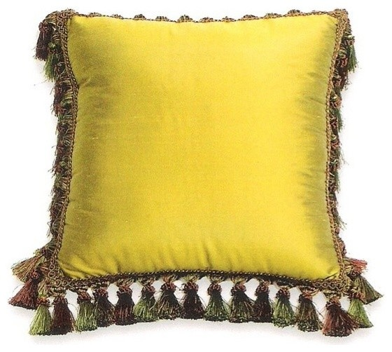 Green Silk Throw Pillow : Silk Suede Green with Chocolate with Tassels 18