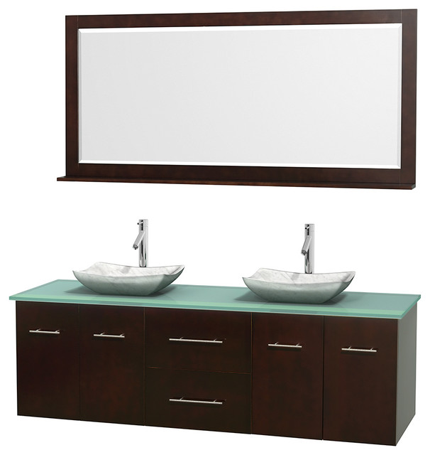 Centra 72 Espresso Double Vanity Green Glass Top White Carrera Marble Sinks Modern