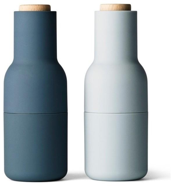 Menu bottle grinders blue set of 2 modern salt and Designer salt and pepper shakers