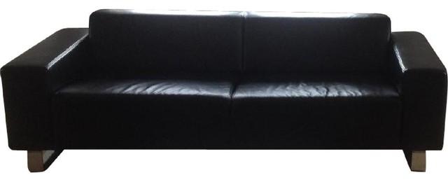 BoConcept Sleek Black Leather Sofa - Sofas - new york - by AptDeco