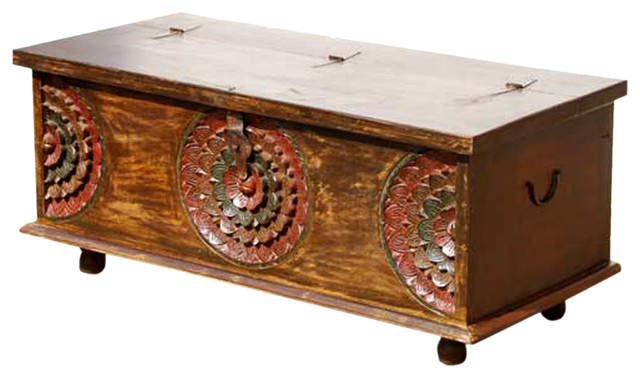 wood hand carved ethnic storage trunk sofa coffee table. Black Bedroom Furniture Sets. Home Design Ideas