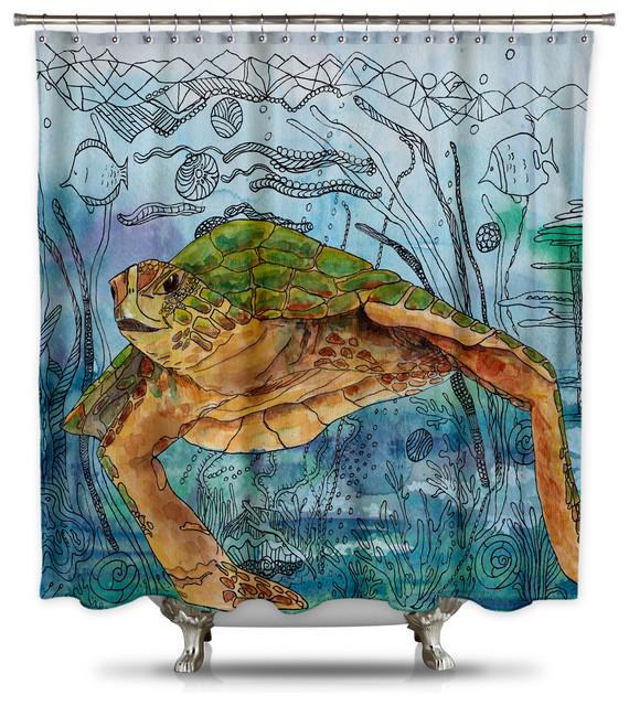 Shower Fabric Shower Curtain, Standard Size - Beach Style - Shower ...