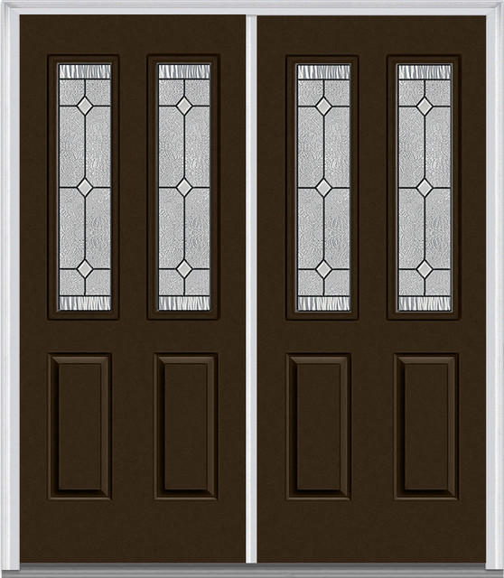 carrollton 2 1 2 lite 2 panel prehung entry door brown