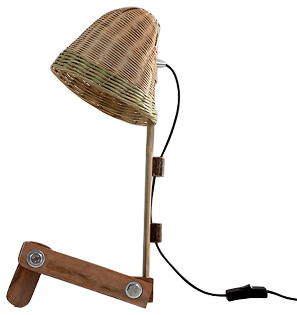 rustic style bamboo weaved shade table lamp wood shelf base transitional table lamps. Black Bedroom Furniture Sets. Home Design Ideas