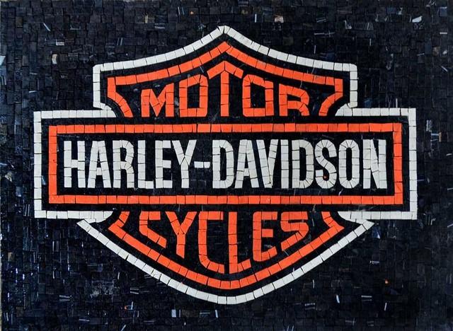 HARLEY-DAVIDSON Marble Mosaic contemporary-wall-decor