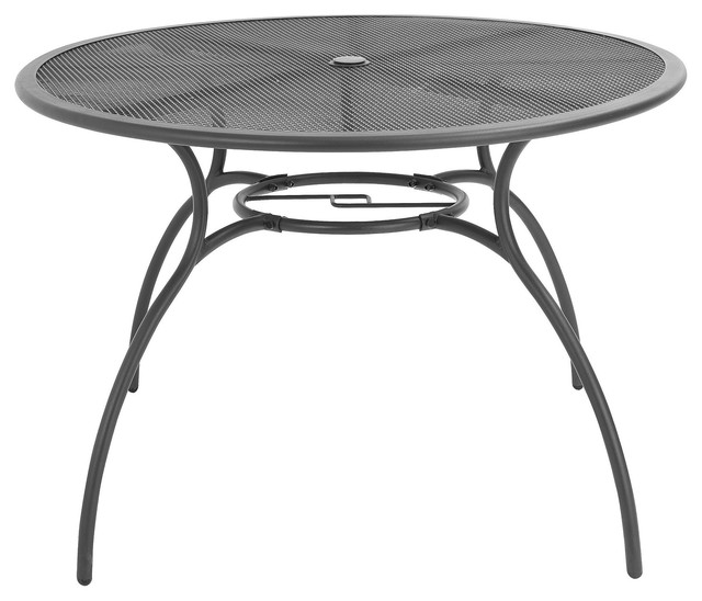 Coburg Metal 4 Seater Round Table Contemporary Garden Dining Patio