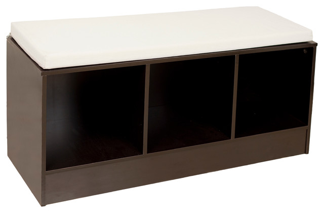 Storage Bench With Canvas Cushion Contemporary Accent And Storage