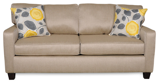 Darcey Beige Sofa With Two Accent Pillows Transitional