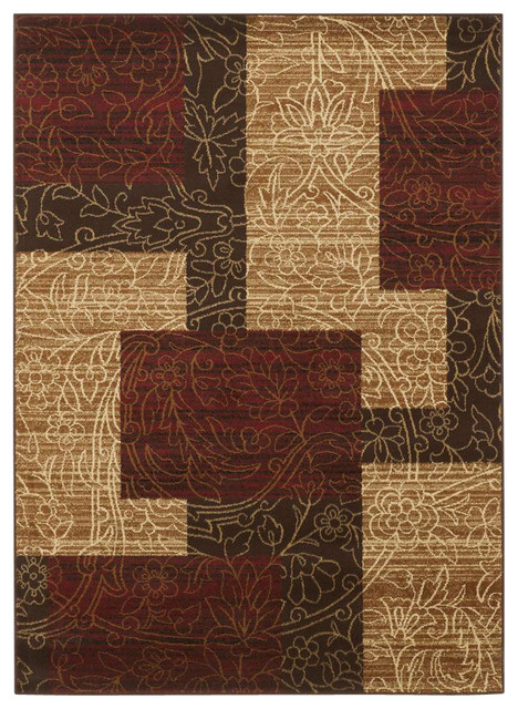Red brown gold area rug contemporary area rugs for Red and gold area rugs
