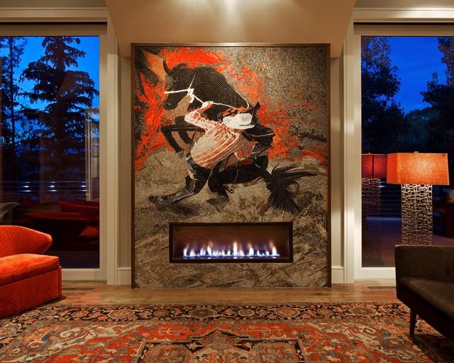 Southwestern Fireplace In Handcut Glass Mosaic