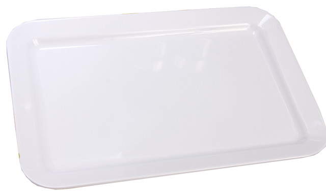 Melamine Rectangular Plate, White, 2-Piece Set - Modern - Serving Trays - by Shall
