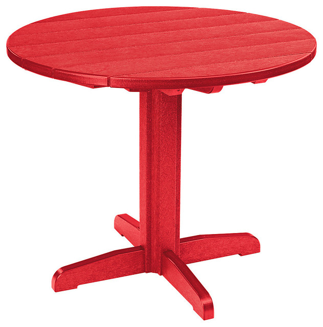 37 Round Dining Pedestal Table Red Contemporary
