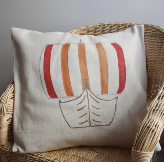 Beach Style Decorative Pillows : Linen Pillow Cover, Viking Ship by Saage - Beach Style - Decorative Pillows - by Etsy