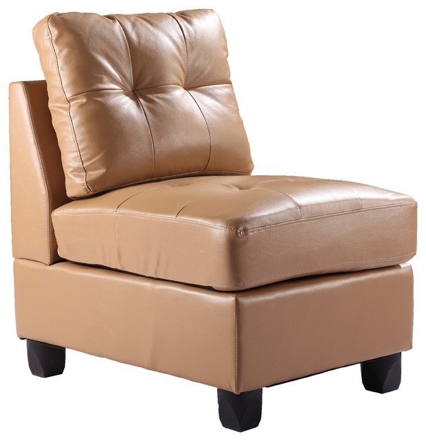 Tufted Armless Chair, Tan Pu - Modern - Armchairs And ...