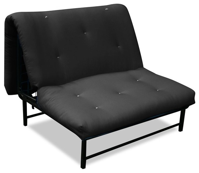 Elite products x factor black metal twin size futon for Black metal chaise lounge