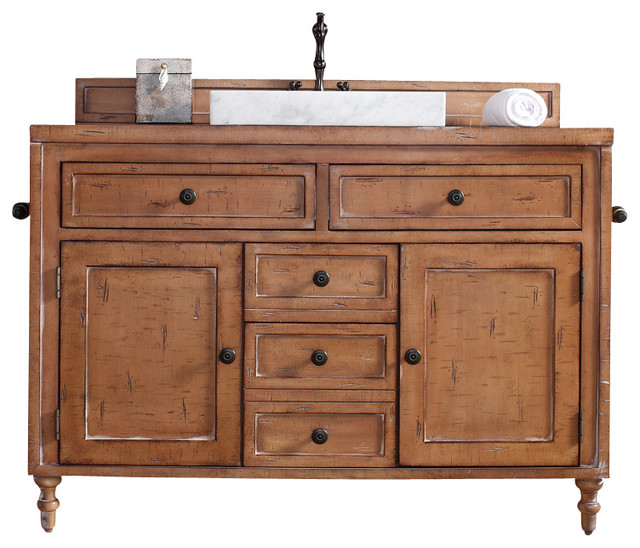 Copper Cove 48 Driftwood Patina Single Vanity With Wood Top Rustic