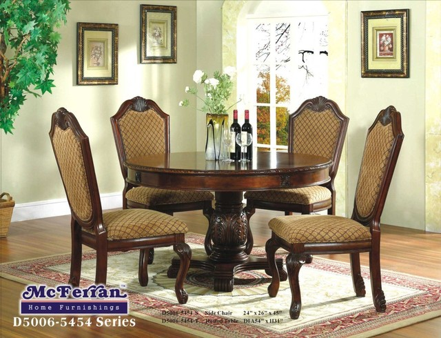 Mcferran home furnishings brown round formal dining for Round formal dining room sets for 8