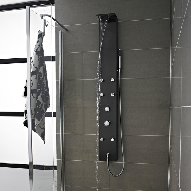 Waterfall shower panel tower system with body jets gun for Shower tower with body jets