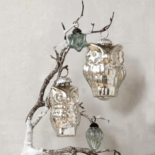 Mercury glass owl ornament contemporary christmas
