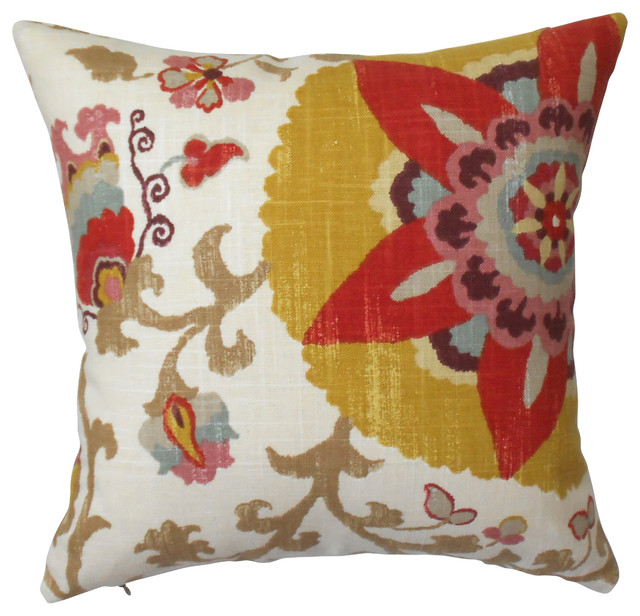 Yellow Suzani Floral Decorative Pillow Cover - Contemporary - Decorative Pillows - by Pillow Flight