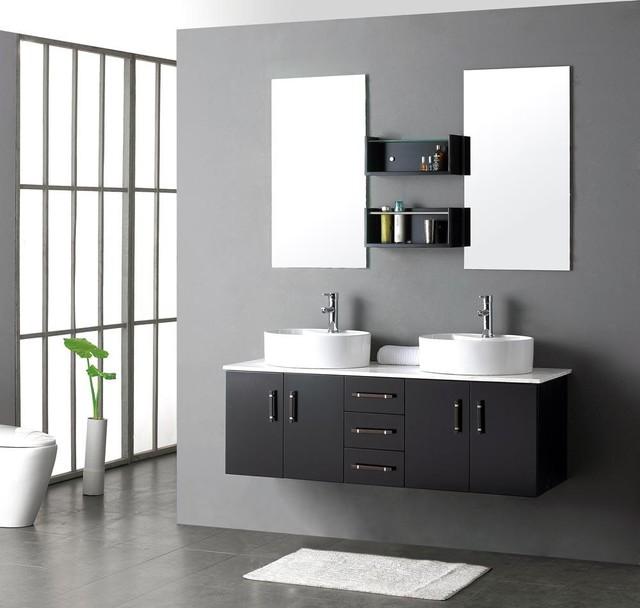 "Milano III Modern Double Sink Bathroom Vanity Set 59"" - Moderno - Tolette e consolle per il ..."