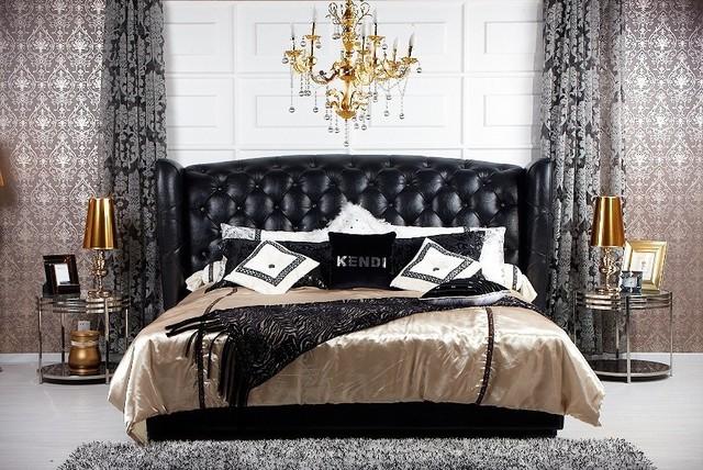 Majestic transitional black eco leather bed modern - Bedroom furniture sets los angeles ...