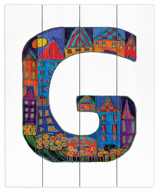 Dianoche wood plank wall art by dora ficher alphabet for Letter g wall decor