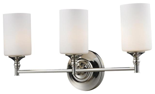 Transitional Bathroom Vanity Lights : Three Light Matte Opal Glass Chrome/matte Opal Vanity - Transitional - Bathroom Vanity Lighting ...