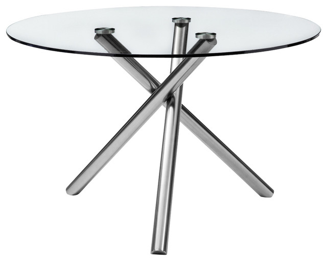 Lux Dining Table 12 Clear Glass Top Metal Base With  : contemporary nightstands and bedside tables from www.houzz.com size 640 x 510 jpeg 32kB