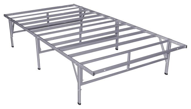 California King Metal Platform Bed Frame Silver Gray Finish
